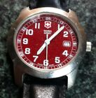 VICTORINOX SWISS ARMY WATCH RED MIL FACE QUARTZ DATE10 BAR BLACK LEATHER BAND