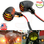 2X Motorcycle Grill Bullet Turn Signals For Harley Cafe Racer Bobber Chopper