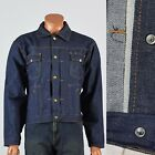 44 Mens NOS 1970s Selvedge Indigo Denim Jean Jacket Snap Front Topstitch 70s VTG