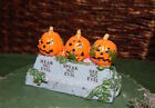 Row of Evil PUMPKINS, Dept 56 Lemax VILLAGE display, Halloween jack-o-lantern