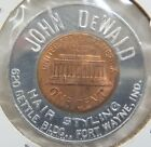 1965-P John DeWald Hair Styling Fort Wayne Indiana IN Ind. Encased Cent Penny