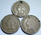 Lot of 3 1900s US Indian Head Penny Cent Antique Old U.S. Currency Money Coins