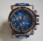 MEN'S ICE OUT BLUE SILICONE BAND HIP HOP BLING RAPPER STYLE FASHION DRESSY WATCH
