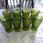 8 Whitehall Avocado Green Footed Goblets Tumbler Vtg Retro Indiana Glass Cubist