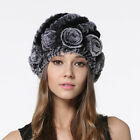 Winter Women Real Rabbit Fur Hats Beanies Knitted Fur Caps Floral Striped Design