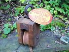 ANTIQUE WOODEN BARN PULLEY ~ TAGGED JOHN PRITZLAFF HARDWARE CO ~ NOS HAY TROLLEY