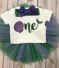 Mermaid first birthday shirt under the sea outfit green and purple first birth