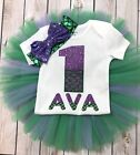 Mermaid birthday outfit girl under the sea outfit green and purple first birth