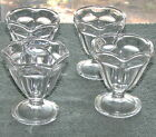 4 Vintage Anchor Hocking Ice Cream Sherbert Sundae Scalloped Rim Footed Cup