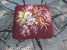 Queen Ann Style Antique Foot Stool Flowers  Needle Point Wood Feet