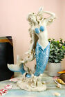 Aqua Blue Tailed Mermaid Listening To Sconce Figurine 12H Ocean Goddess Statue