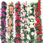 2 x 8Ft Artificial Rose Vine Flowers Hanging Ivy Home Wedding Party Art Dcor US
