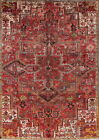Antique Geometric Tribal Heriz Persian Hand Knotted Red Area Rug Oriental 8x11