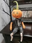 Halloween Primitive Vintage Style Pumpkin Head Doll Shelf Sitter Tabletop Decor