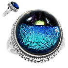 Artisan - Dichroic Glass 925 Sterling Silver Rings Jewelry s.8 RR201936