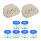 Intex Pure Spa Hot Tub Seat Accessory Pair + PureSpa Type S1 Filters 6 Count