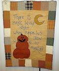 Primitive Folk Art Handmade Pumpkin Quilt Wall Panel Autumn Fall Country Decor