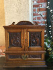 Antique English Carved Tiger Oak Pipe Smoke Cabinet Game Box Humidor  Jewelry