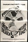 Charlie Chaplin THE GREAT DICTATOR MODERN TIMES 1 SHEET MOVIE POSTER 27 x 41