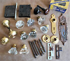Vintage GLASS / BRASS DOOR KNOB LOT - Mortice Lock