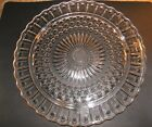 Vintage FEDERAL GLASS Clear Glass Cake Plate Hobnail Scallop Starburst Toe Feet