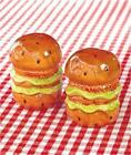 BBQ PICNIC PARTY HAMBURGER DESIGN CERAMIC SALT AND PEPPER SHAKER SET FUN