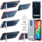 For LG Q7+ Clear Hybrid Hard Dual Layered Kickstand Phone Case Cover Accessory