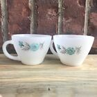 (2) Fire King Milk Glass Blue Floral Boutonniere Cups W/ Handles LOT