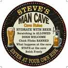 STEVES Man Cave Rules Round Metal Sign Garage Wall Decor 100140010230