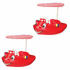 SwimWays Plastic Baby Swimming Pool Tug Boat Float with Toys and Canopy 2 Pack