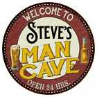 Steves Man Cave Round Metal Sign Kitchen Bar Wall Dcor 100140035231
