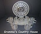 4 Federal Glass WINDSOR Clear Snack Plates and Matching Cups - Button