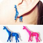 2pairs stereoscopic deer cute giraffe personality Fluorescent color stud earring