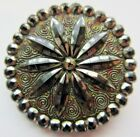 Stunning LARGE Antique Victorian Black GLASS BUTTON Colorful Luster Design (B15)