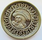 Outstanding X LARGE Antique Metal Picture BUTTON Men's Head Feather Hat (F25)