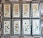 8 VINTAGE CHINESE DUN HUANG BEIJING SILK EMBROIDERY PANEL WALL HANGING PICTURES