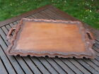 LOVELY VINTAGE HAND CARVED WALNUT SERVING TRAY.