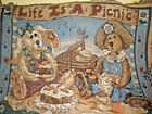 "Boyds Bears Forever Friends Woven Tapestry Wall Hanging ""Life is a Picnic"" Throw"