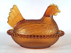 Indiana Amber Glass Chicken Hen On Nest Covered Dish