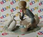 LLADRO #4849 FOOD FOR DUCKS GIRL RETIRED GLOSS PORCELAIN FIGURINE ORIGINAL BOX