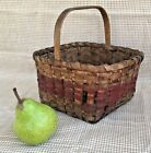 Early Small 19 C Primitive Antique Splint Basket with Original Red Paint