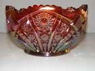 VINTAGE L.E. SMITH OR INDIANA GLASS RED CARNIVAL SUN BURST SAW TOOTH  EDGE BOWL