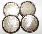 ANTIQUE METAL STEEL CUP BUTTONS W/ CARVED MOTHER OF PEARL CENTERS