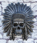 Large Native Indian Chieftain Warrior Skull With Roach Headdress Wall Decor