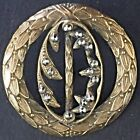 Antique Pierced Brass Button w/riveted cut steels - Realistic - Large