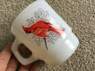Fire King Stacking Mug Song Birds of America Cardinal Blue Jay White Milk Glass