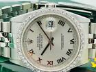 Estate ~ ROLEX Datejust Stainless & 18k White Gold Diamond Bezel 36mm Mens Watch