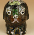 Chinese Old Cloisonne Handmade Carved Dog Statue Figure
