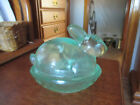 Vintage Rabbit On Nest, Covered Candy Dish, Glass Green rare color glass