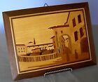 VTG  ITALIAN INLAID MARQUETRY WOOD WALL HANGING PLAQUE 8.5' X 9.5